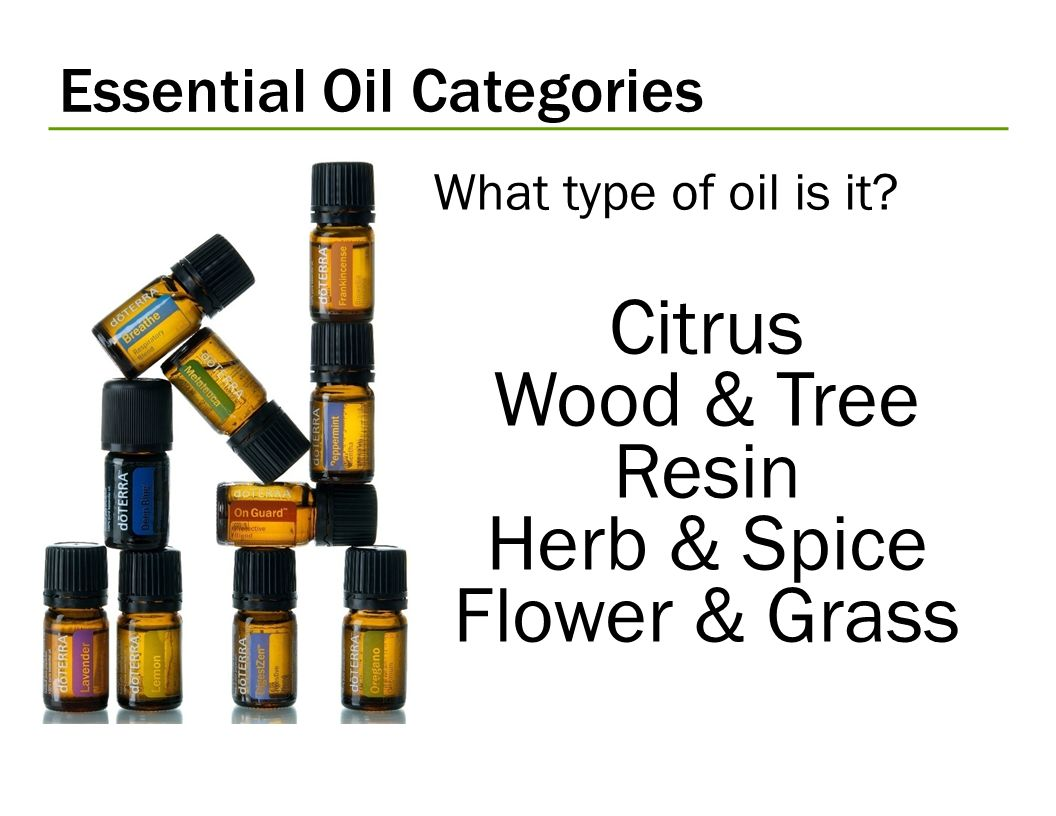 Essential Oil Categories What type of oil is it? Citrus Wood & Tree Resin Herb & Spice Flower & Grass