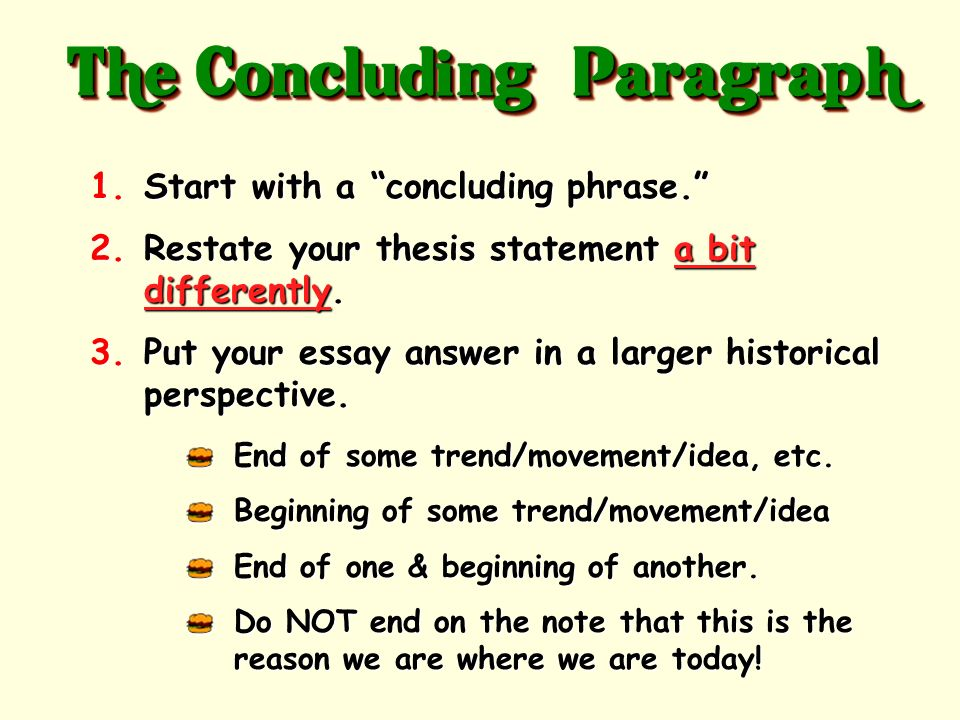 The Bottom Bun of your essay! It holds it all together! 3-4 sentences The Concluding Paragraph
