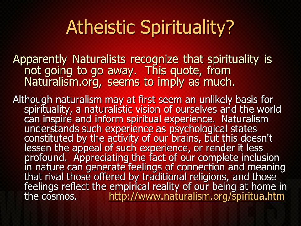 Atheistic Spirituality.Apparently Naturalists recognize that spirituality is not going to go away.