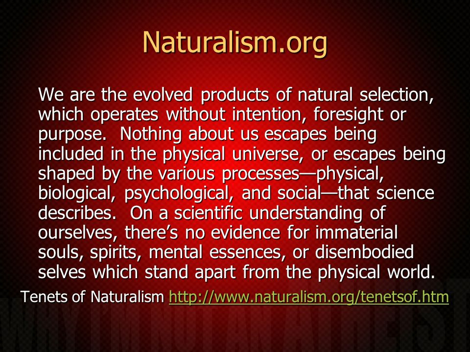Naturalism.org We are the evolved products of natural selection, which operates without intention, foresight or purpose. Nothing about us escapes bein