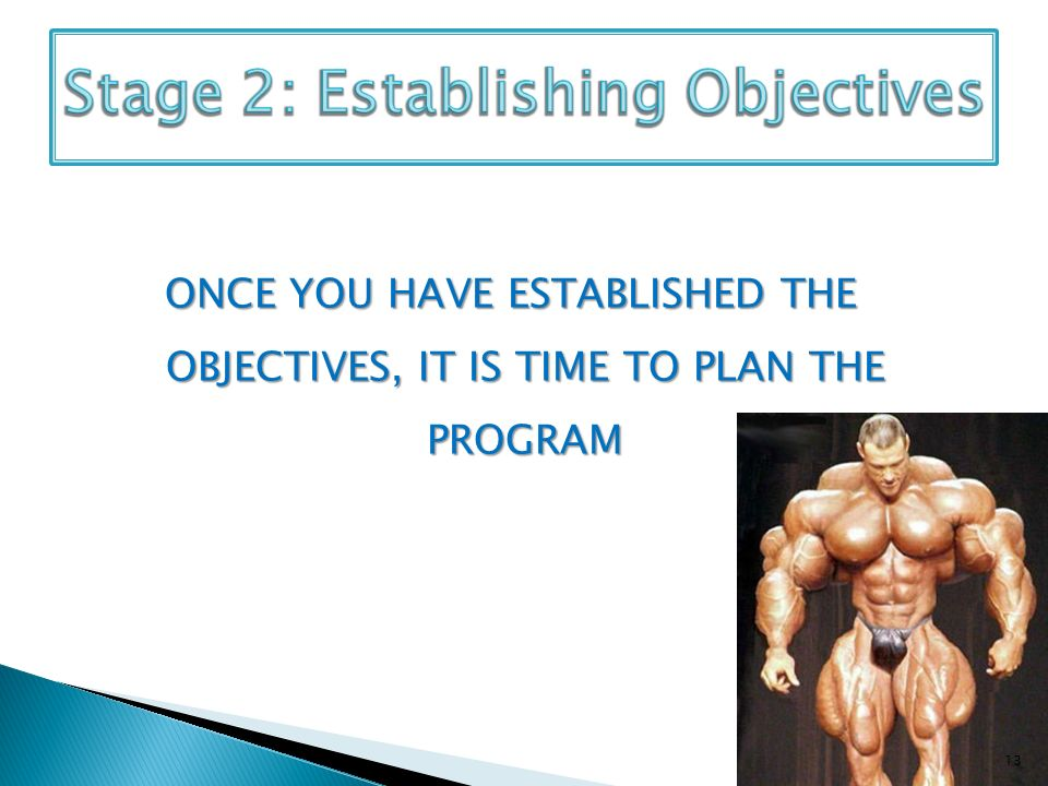 ONCE YOU HAVE ESTABLISHED THE OBJECTIVES, IT IS TIME TO PLAN THE PROGRAM 13