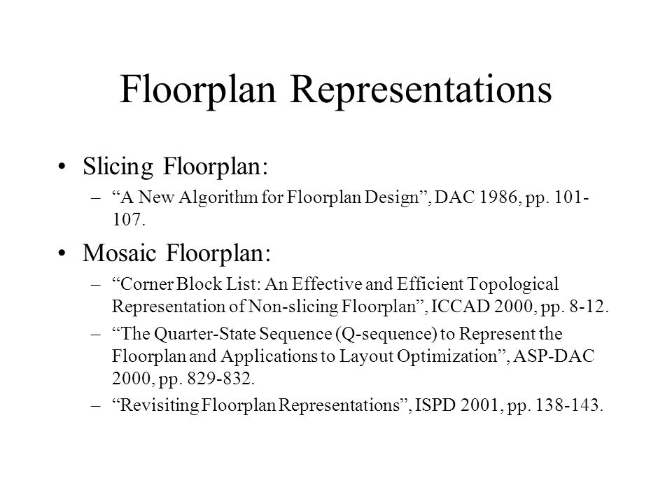 Floorplan Representations Slicing Floorplan: –A New Algorithm for Floorplan Design, DAC 1986, pp.