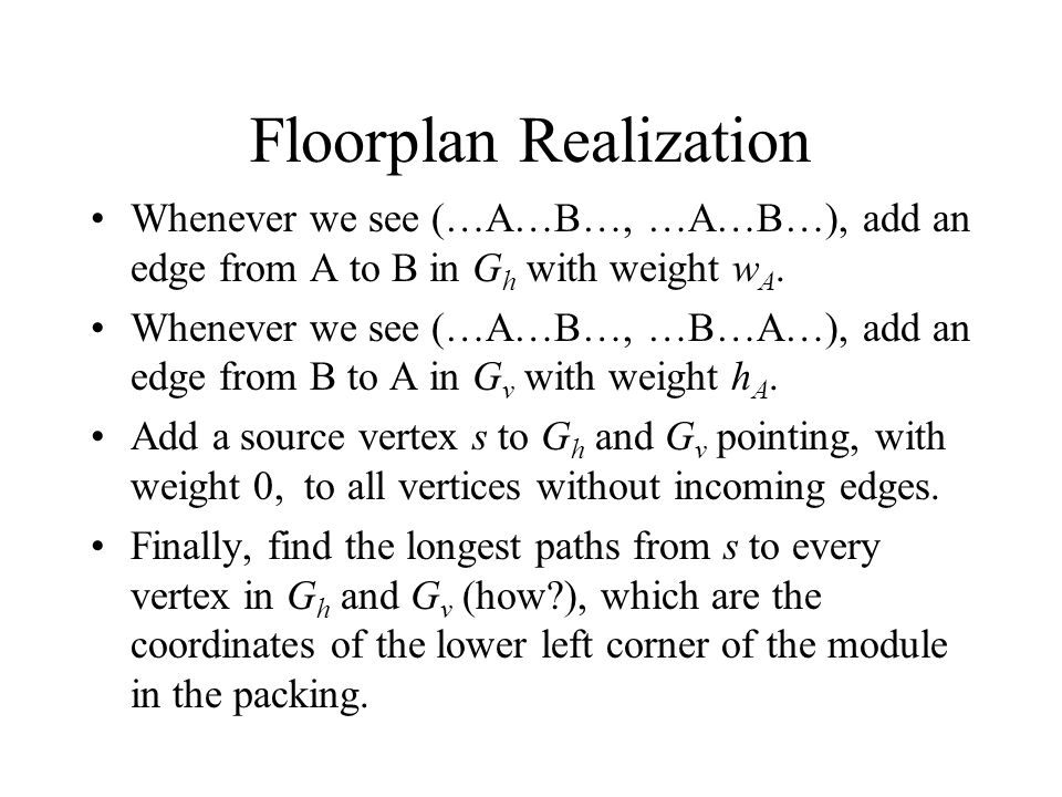 Floorplan Realization Whenever we see (…A…B…, …A…B…), add an edge from A to B in G h with weight w A.