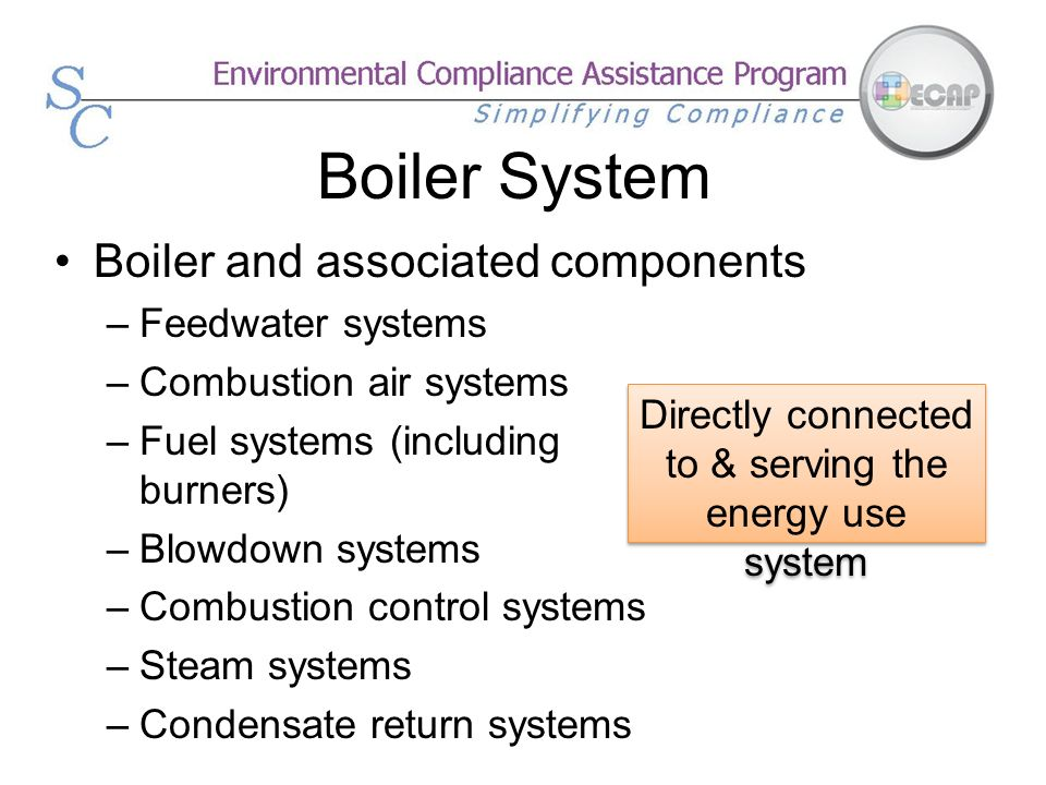 Boiler System Boiler and associated components –Feedwater systems –Combustion air systems –Fuel systems (including burners) –Blowdown systems –Combust