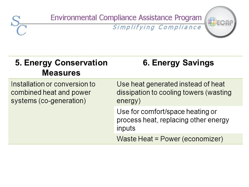 5. Energy Conservation Measures 6. Energy Savings Installation or conversion to combined heat and power systems (co-generation) Use heat generated ins