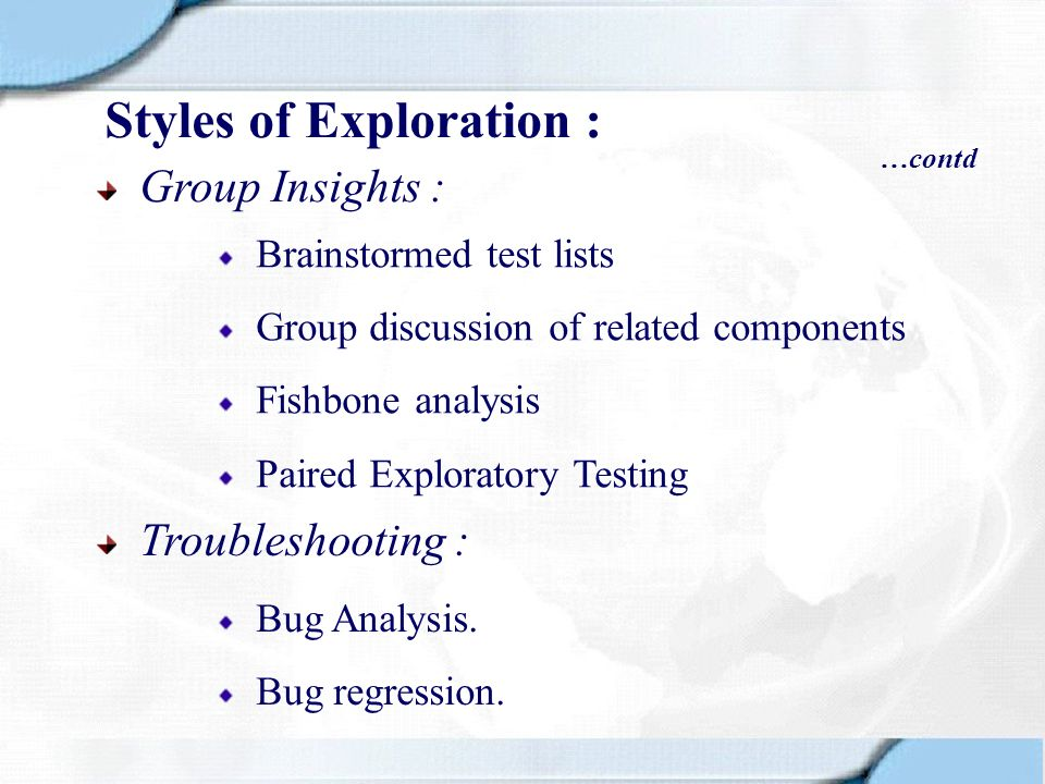 Group Insights : Troubleshooting : Bug Analysis. Bug regression. Brainstormed test lists Group discussion of related components Fishbone analysis Pair