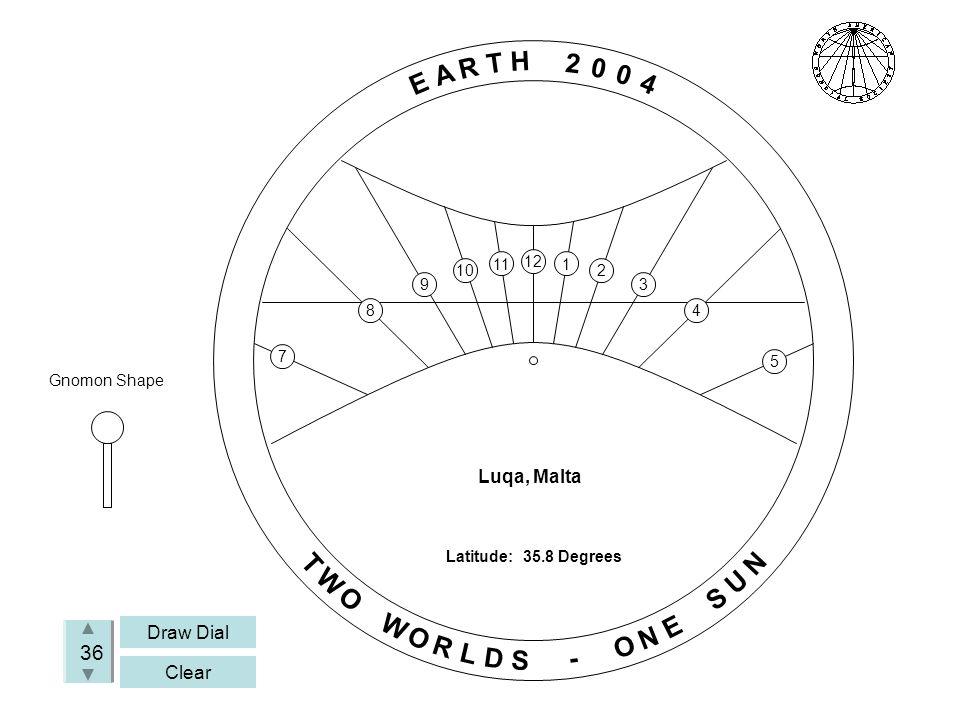 Draw Dial Clear 36 Luqa, Malta Gnomon Shape E A R T H 2 0 0 4 T W O W O R L D S - O N E S U N Latitude: 35.8 Degrees 7 8 9 10 11 12 1 2 3 4 5
