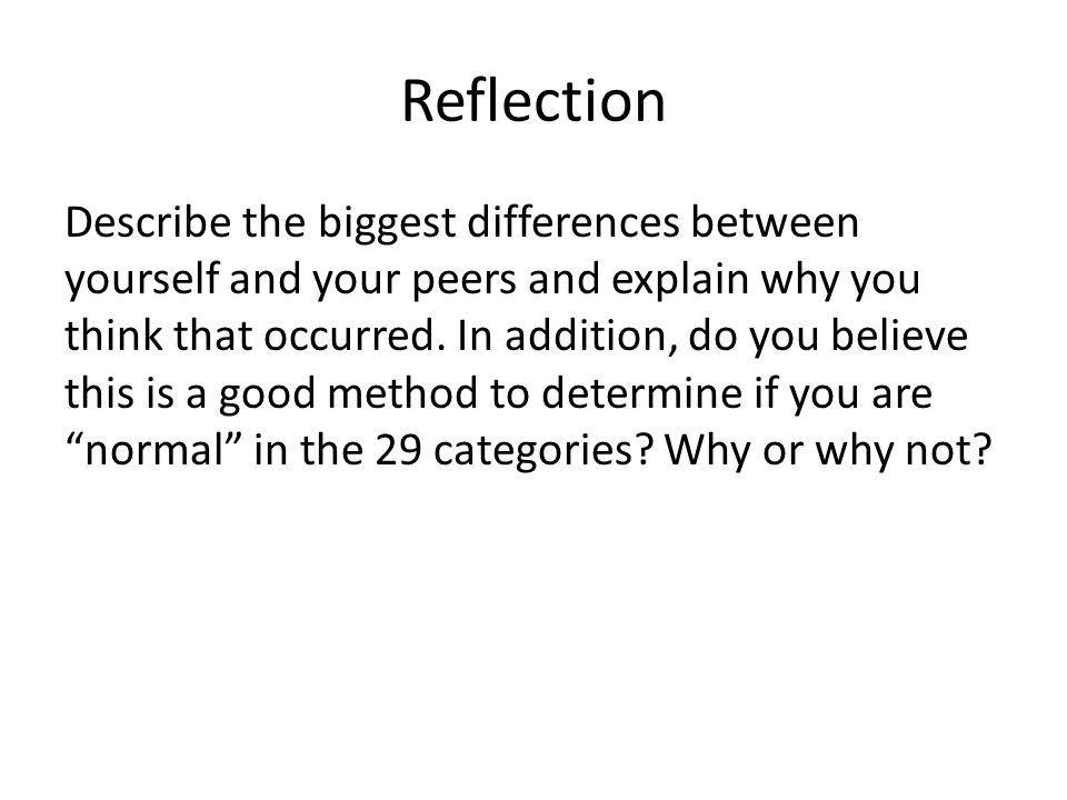 Reflection Describe the biggest differences between yourself and your peers and explain why you think that occurred.