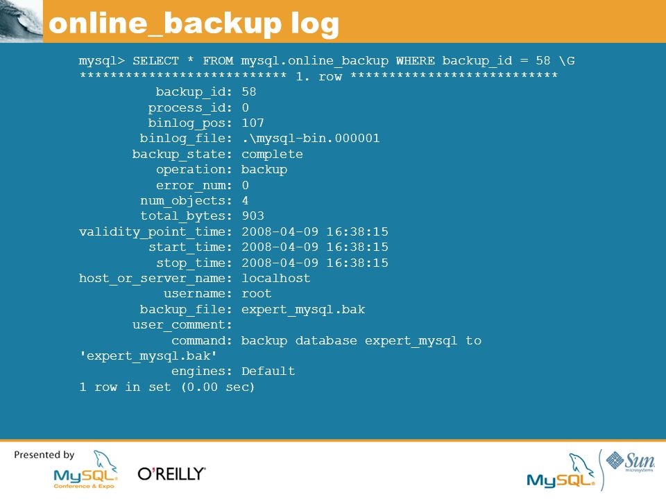online_backup log mysql> SELECT * FROM mysql.online_backup WHERE backup_id = 58 \G *************************** 1.