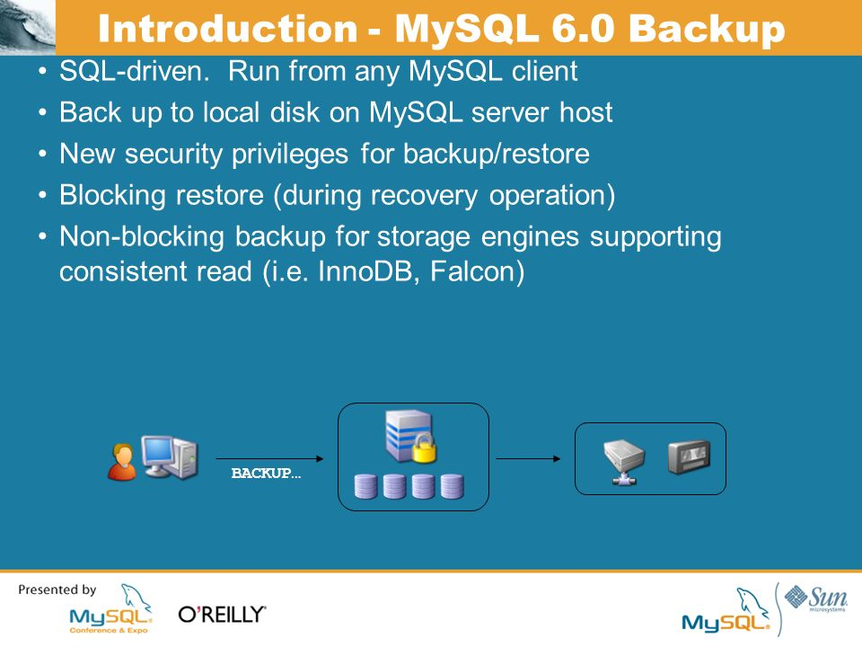 Introduction - MySQL 6.0 Backup SQL-driven.