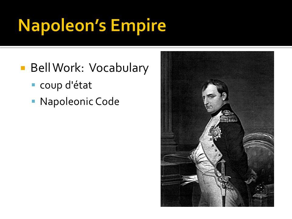 Bell Work: Vocabulary coup d'état Napoleonic Code