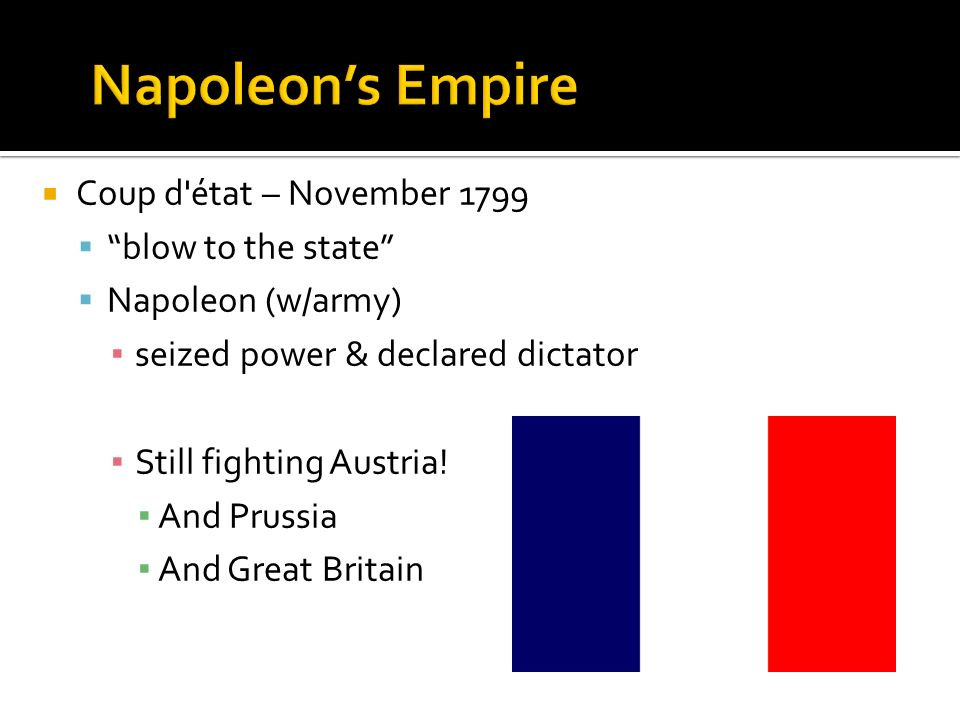 Coup d'état – November 1799 blow to the state Napoleon (w/army) seized power & declared dictator Still fighting Austria! And Prussia And Great Britain