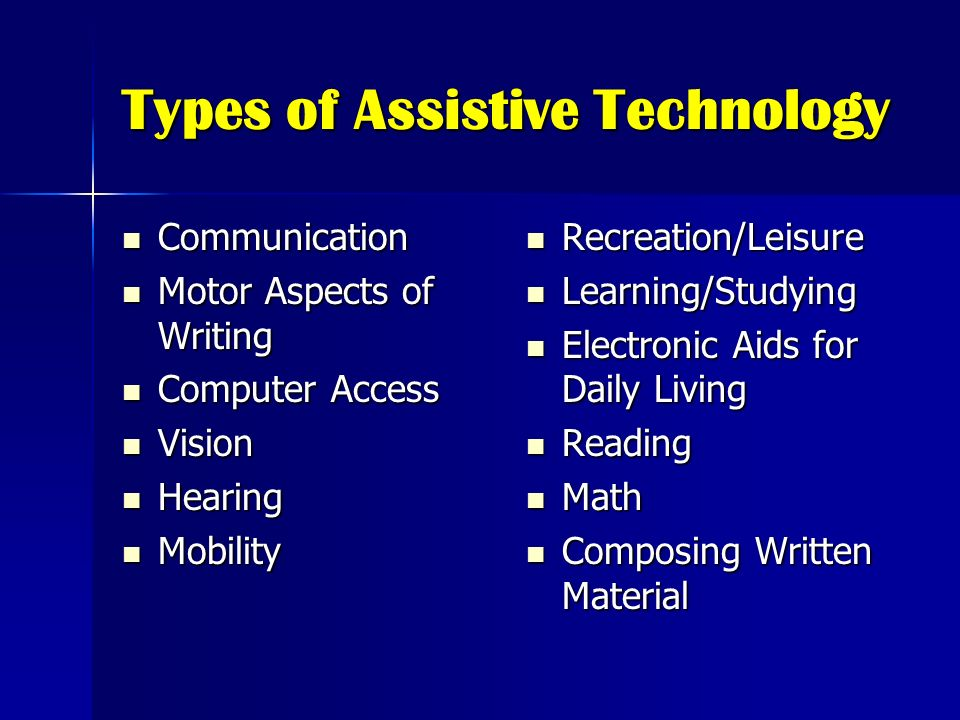 Types of Assistive Technology Communication Communication Motor Aspects of Writing Motor Aspects of Writing Computer Access Computer Access Vision Vis