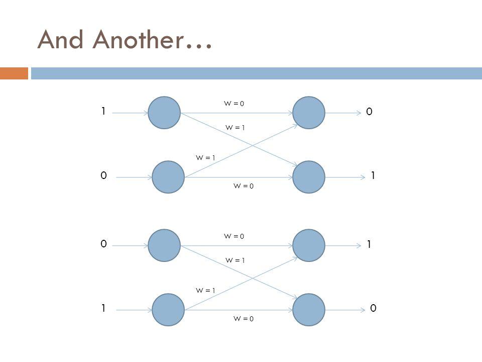 And Another… 1 0 W = 1 0 1 W = 0 W = 1 W = 0 0 1 W = 1 1 0 W = 0 W = 1 W = 0
