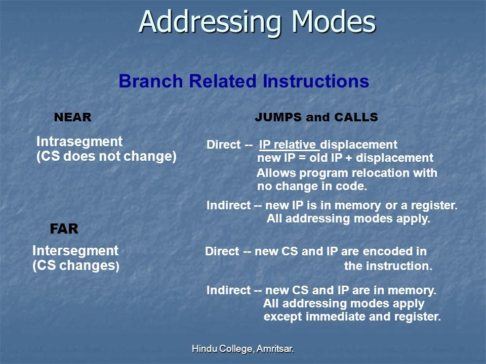 Addressing Modes Branch Related Instructions Intrasegment (CS does not change) Direct -- IP relative displacement new IP = old IP + displacement Allow