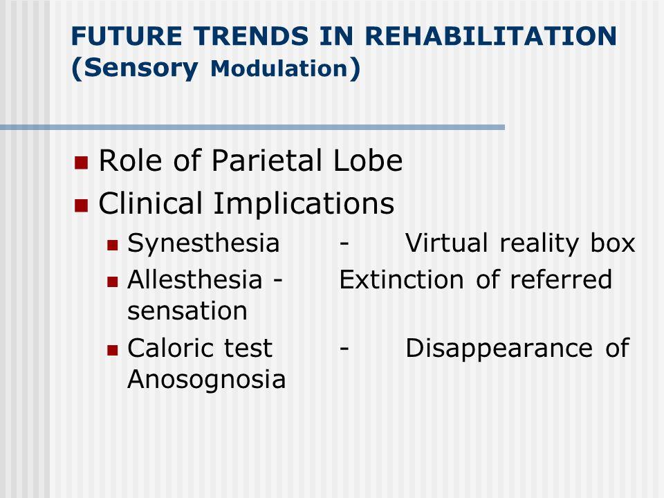FUTURE TRENDS IN REHABILITATION (Sensory Modulation ) Anatomical Principles Somatosensory System Limbic System Visual System Phantom Experiences The m