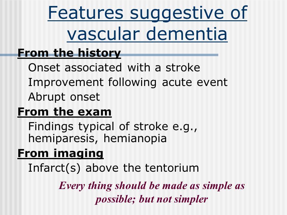 Clinical syndromes 1. Lacunar state --- 85% 2. Strategic infarct dementia(e.g. thalamic dementia) --- unknown % 3. Binswangers syndrome --- 10 – 15% T