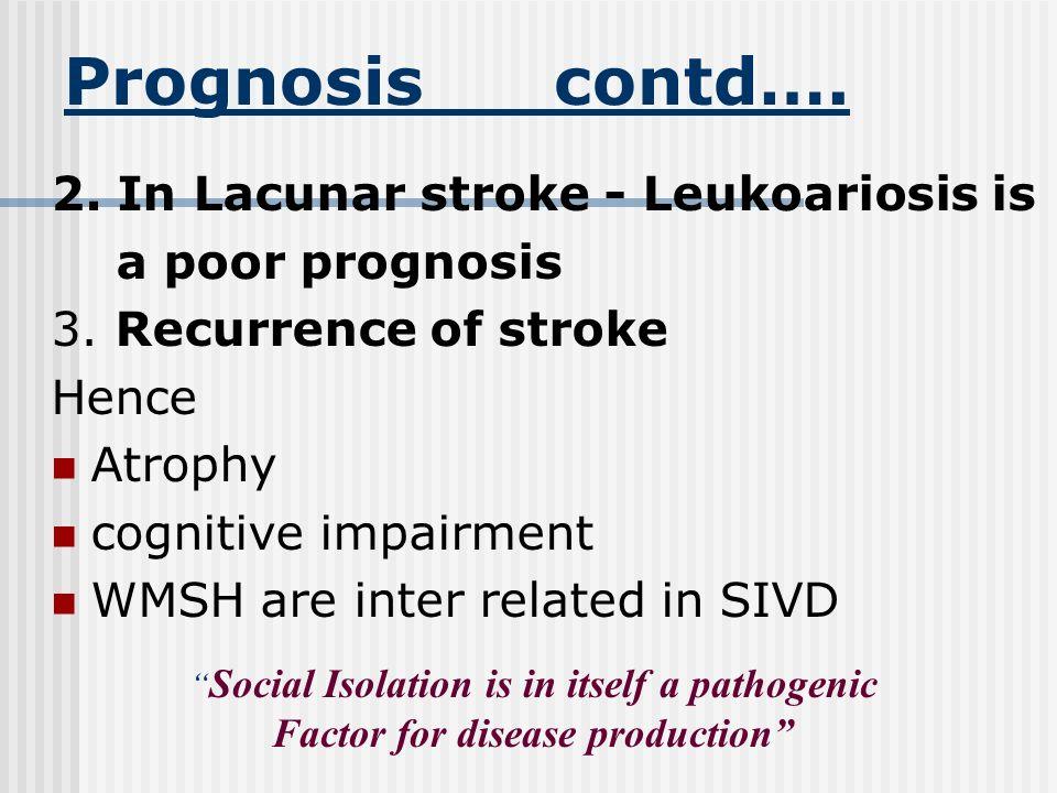 Prognosis 1. Risk factors Advanced age Education Lacunar subtype Lt. Hemisphere CVA Non white Develops dementia following ischemic stroke Fools Admire