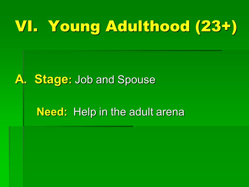 VI. Young Adulthood (23+) A.