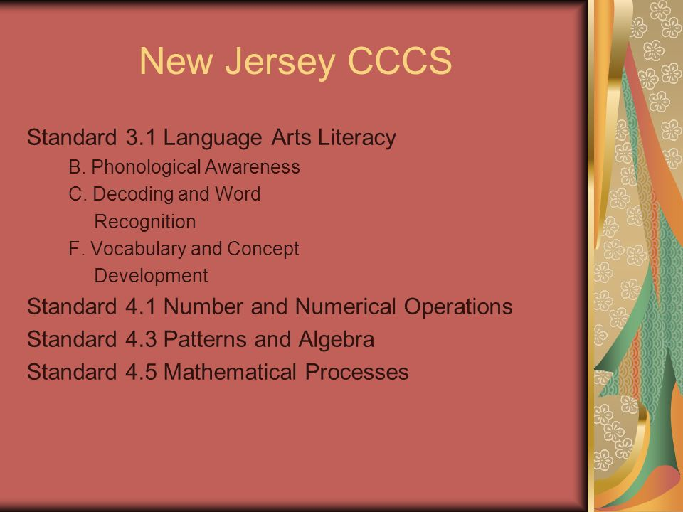 New Jersey CCCS Standard 3.1 Language Arts Literacy B.