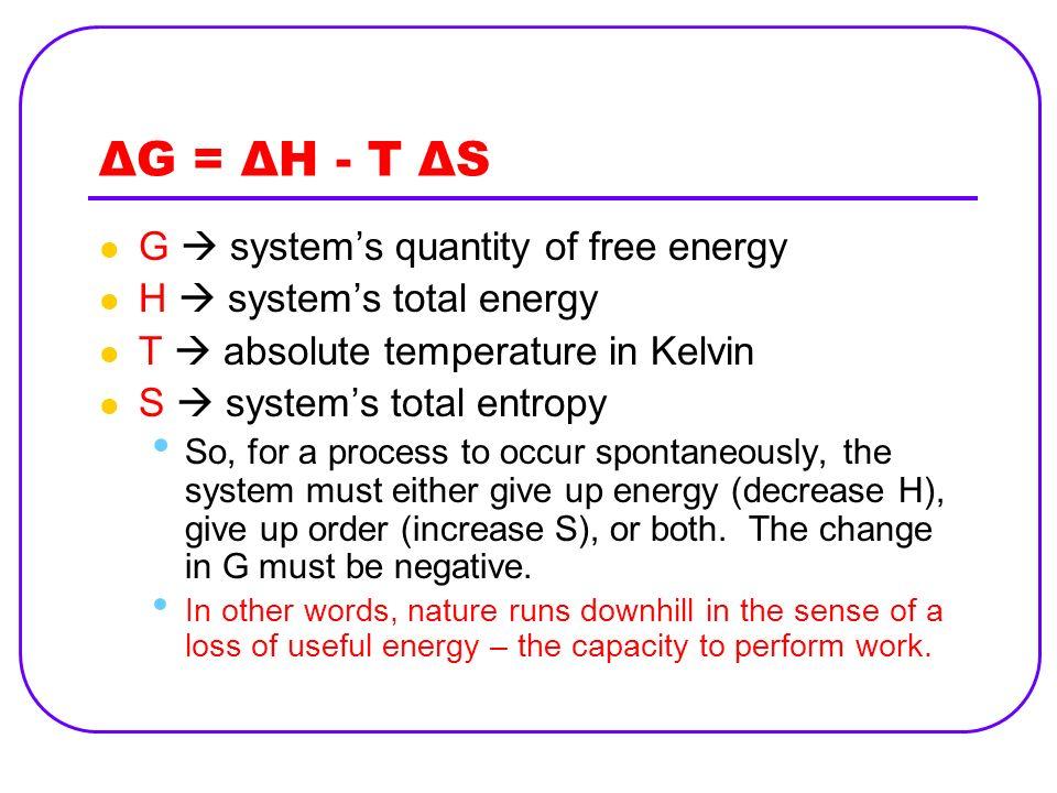 ΔG = ΔH - T ΔS G systems quantity of free energy H systems total energy T absolute temperature in Kelvin S systems total entropy So, for a process to