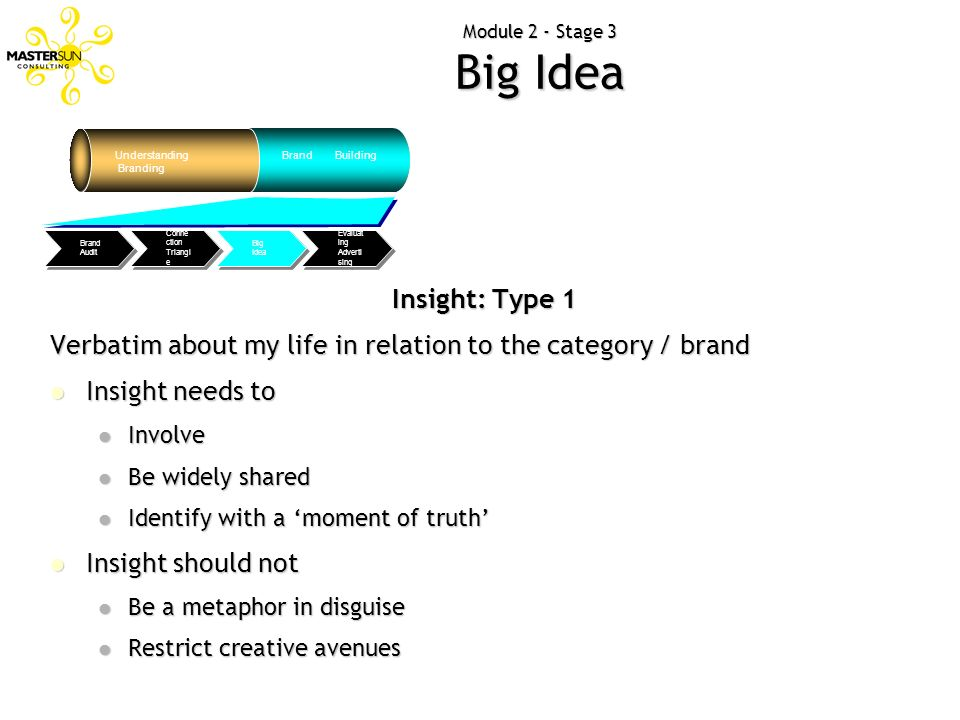 Understanding Branding Brand Building Evaluat ing Adverti sing Big Idea Conne ction Triangl e Brand Audit Insight: Type 1 Verbatim about my life in re