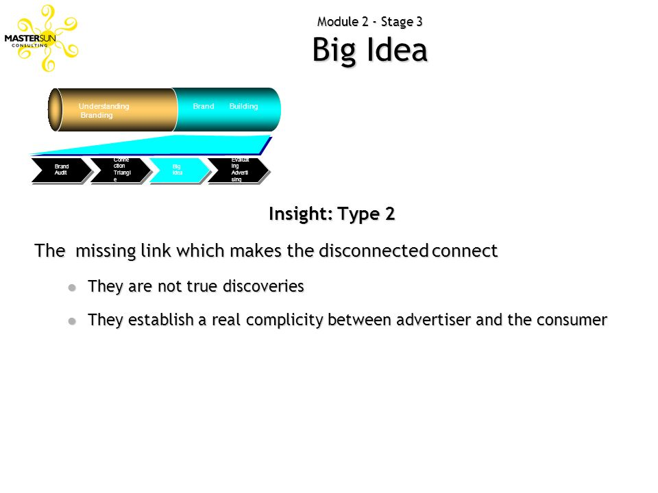 Module 2 - Stage 3 Big Idea Understanding Branding Brand Building Evaluat ing Adverti sing Big Idea Conne ction Triangl e Brand Audit Insight: Type 2