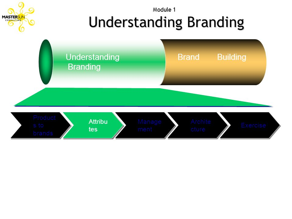 Attribut es Module 1 Understanding Branding Understanding Branding Brand Building Exercise Archite cture Manage ment Attribu tes Product s to brands
