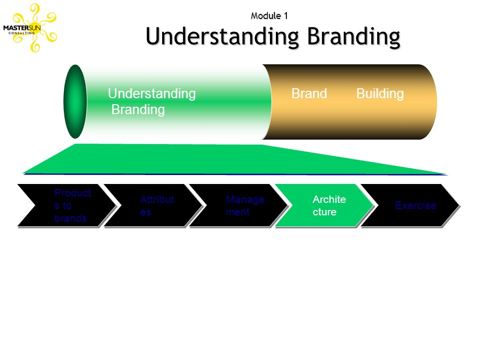 Attribut es Module 1 Understanding Branding Understanding Branding Brand Building Exercise Archite cture Manage ment Product s to brands Archite cture