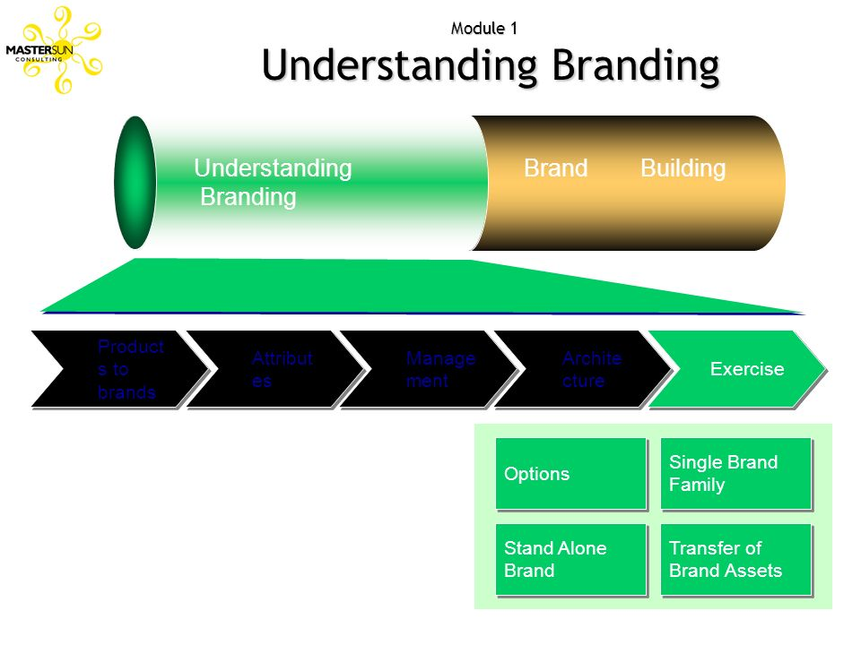 Attribut es Module 1 Understanding Branding Understanding Branding Brand Building Archite cture Manage ment Product s to brands Exercise Options Singl