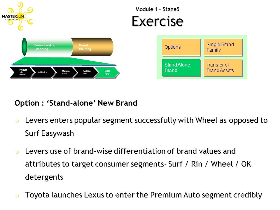 Module 1 - Stage5 Exercise Options Single Brand Family Stand Alone Brand Transfer of Brand Assets Option : Stand-alone New Brand Levers enters popular