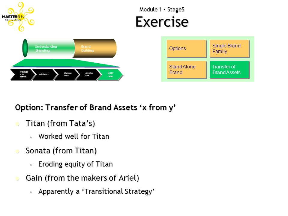 Module 1 - Stage5 Exercise Options Single Brand Family Stand Alone Brand Transfer of Brand Assets Option: Transfer of Brand Assets x from y Titan (fro