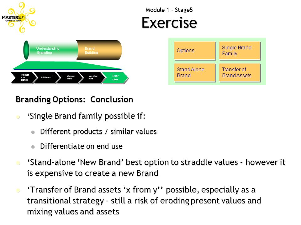 Module 1 - Stage5 Exercise Options Single Brand Family Stand Alone Brand Transfer of Brand Assets Branding Options: Conclusion Single Brand family pos