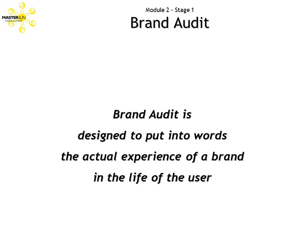 Module 2 - Stage 1 Brand Audit Brand Audit is designed to put into words the actual experience of a brand in the life of the user