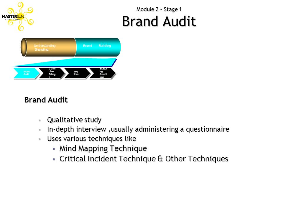 Module 2 - Stage 1 Brand Audit Brand Audit Qualitative study Qualitative study In-depth interview,usually administering a questionnaire In-depth inter