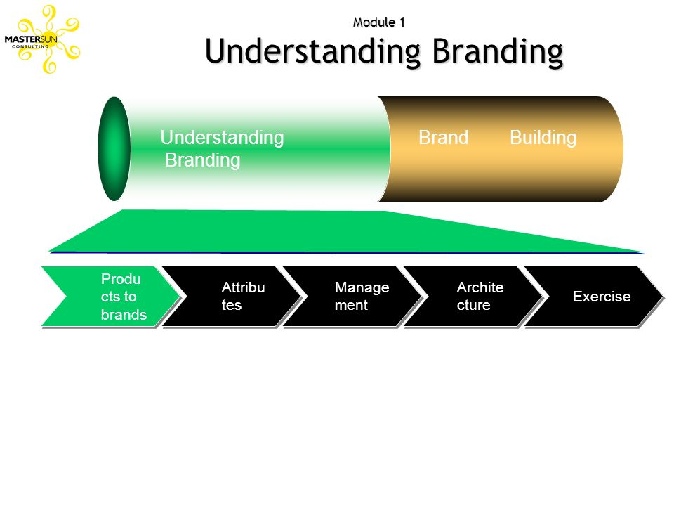 Module 1 Understanding Branding Exercise Archite cture Manage ment Attribu tes Produ cts to brands Understanding Branding Brand Building