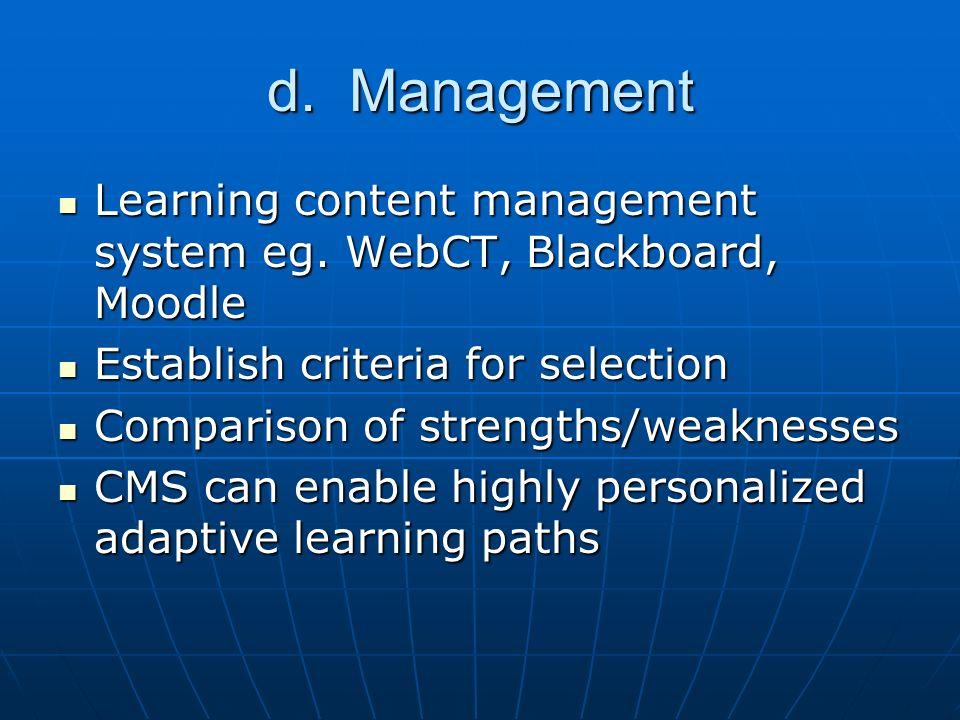 d. Management Learning content management system eg.