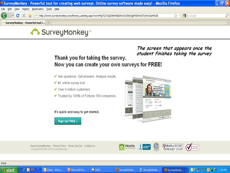 The screen that appears once the student finishes taking the survey