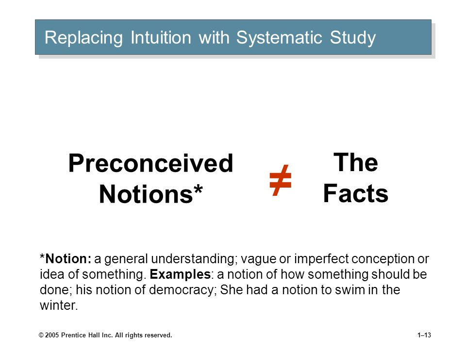 © 2005 Prentice Hall Inc. All rights reserved.1–12 Replacing Intuition with Systematic Study Systematic study Looking at relationships, attempting to