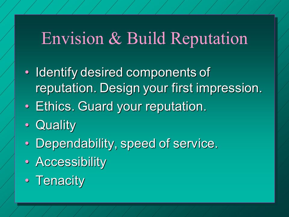 Envision & Build Reputation Identify desired components of reputation.