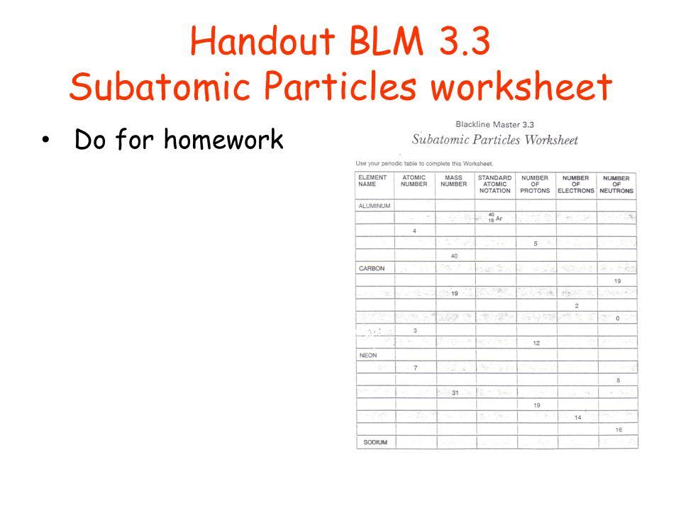 Handout BLM 3.3 Subatomic Particles worksheet Do for homework