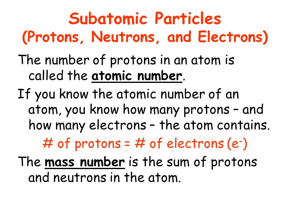 Subatomic Particles (Protons, Neutrons, and Electrons) The number of protons in an atom is called the atomic number. If you know the atomic number of