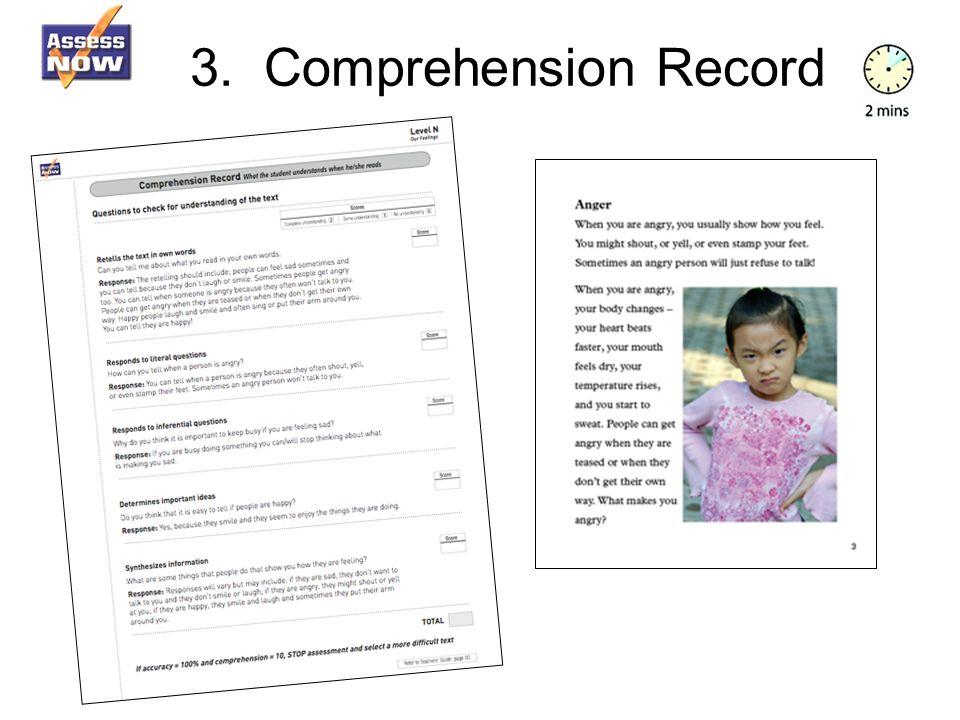 3. Comprehension Record