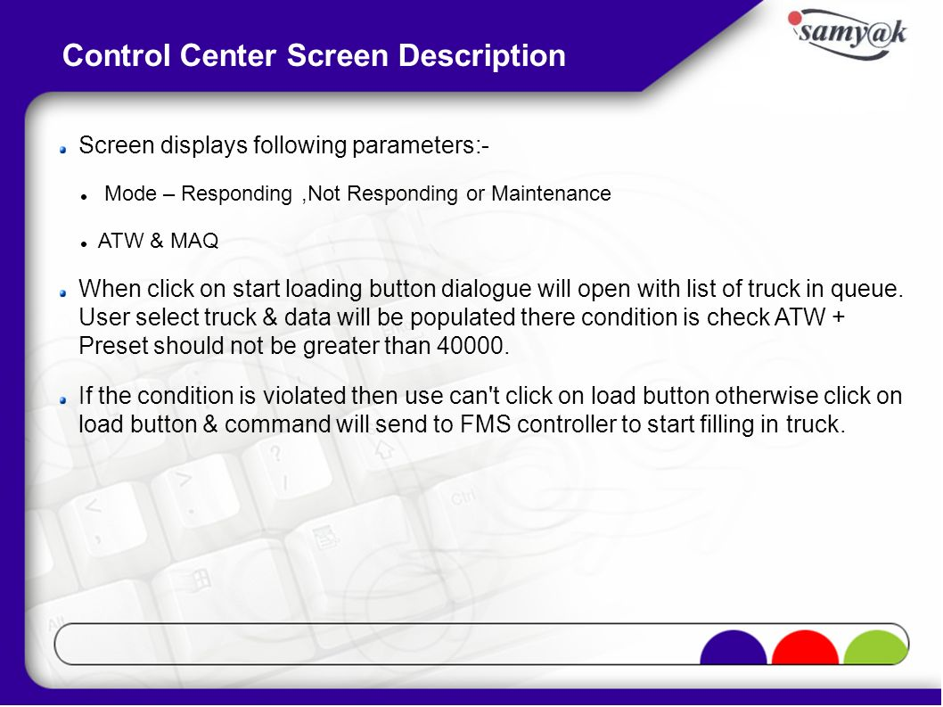 Screen displays following parameters:- Mode – Responding,Not Responding or Maintenance ATW & MAQ When click on start loading button dialogue will open