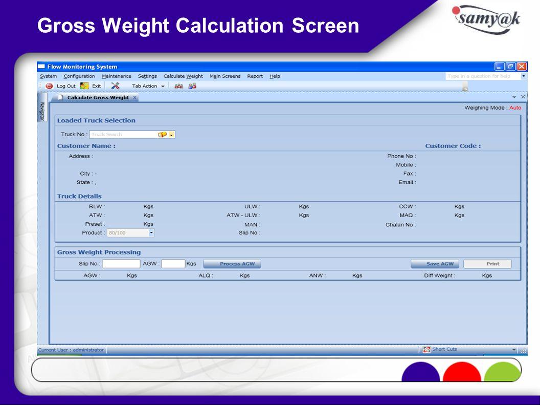 Gross Weight Calculation Screen
