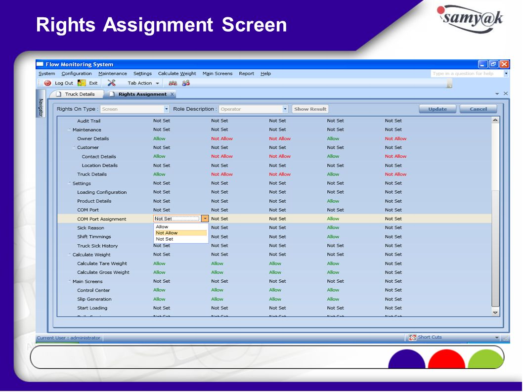 Rights Assignment Screen