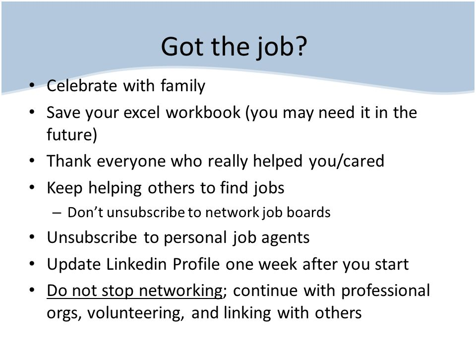 Good Resources Starting Place – www.careerdfw.org www.careerdfw.org Business Cards – www.vistaprint.com www.vistaprint.com Linkedin – www.linkedin.com and search for David Lanners www.linkedin.com Social Media – www.linkedin.com and search for David Swinney www.linkedin.com Job Leads – yahoogroups (need to be a member) yahoogroups