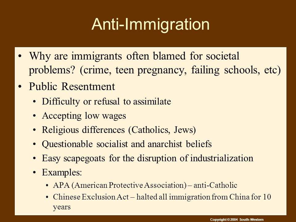 Copyright © 2004 South-Western Anti-Immigration Why are immigrants often blamed for societal problems.