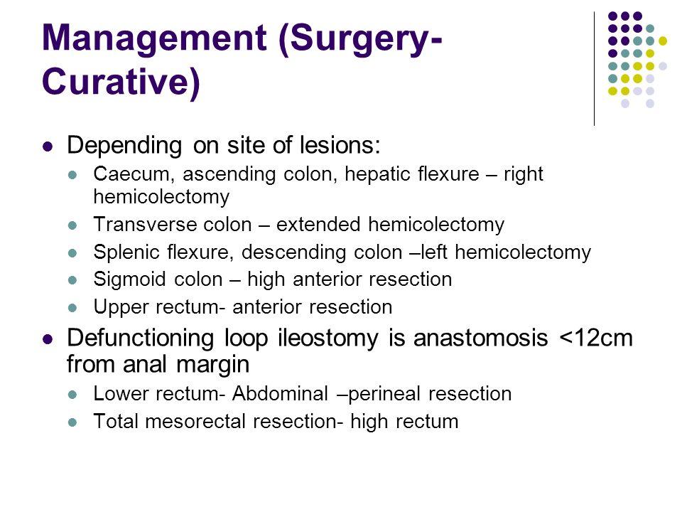 Management (Surgery- Curative) Depending on site of lesions: Caecum, ascending colon, hepatic flexure – right hemicolectomy Transverse colon – extende
