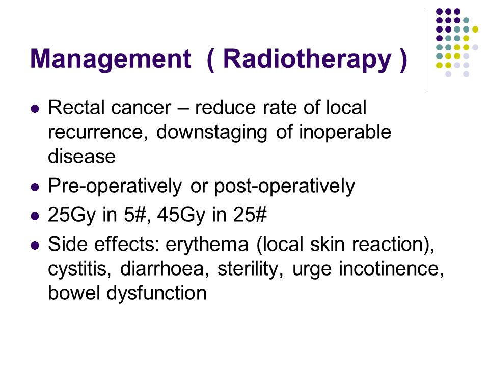 Management ( Radiotherapy ) Rectal cancer – reduce rate of local recurrence, downstaging of inoperable disease Pre-operatively or post-operatively 25G